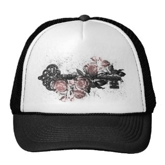 Old Key and Roses Trucker Hats