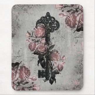 Old Key and Roses Mouse Pad