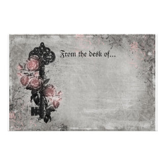 Old Key and Roses Stationery