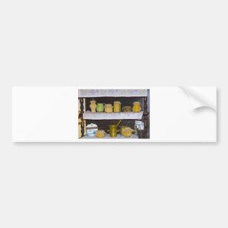 old kitchen shelf car bumper sticker