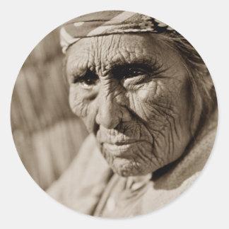 Old Klamath woman Native American Woman Classic Round Sticker