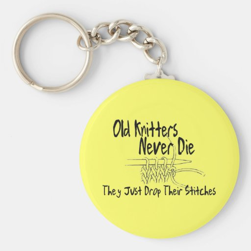 Old Knitters Basic Round Button Keychain