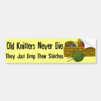 Old Knitters Car Bumper Sticker