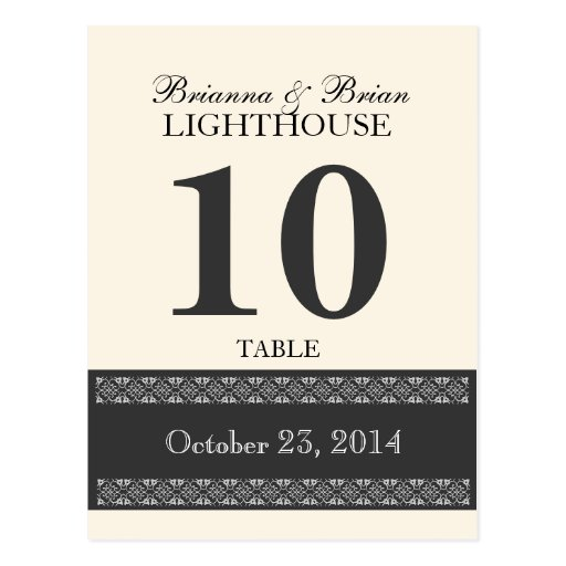 OLD LACE GRAY Wedding Table Number Card Reception