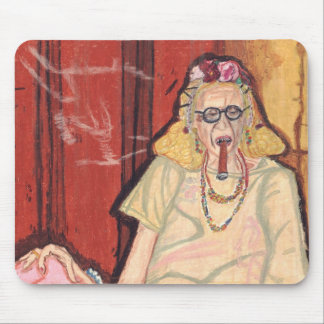 old lady and cigar mouse pad