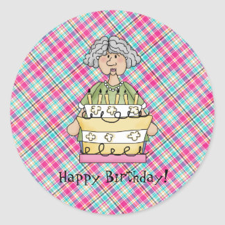 Old Lady Birthday stickers