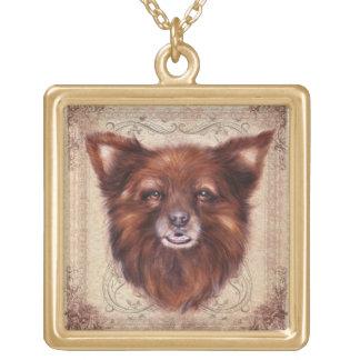 Old Lady Kometka dog animal portrait painting Gold Plated Necklace