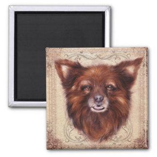 Old Lady Kometka dog animal portrait painting 2 Inch Square Magnet