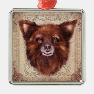 Old Lady Kometka dog animal portrait painting Metal Ornament