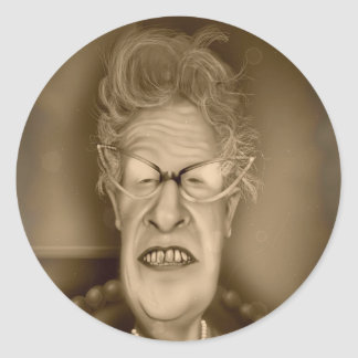 Old Lady OAP Vintage Caricature Retro Classic Round Sticker