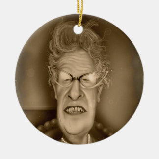 Old Lady OAP Vintage Caricature Retro Double-Sided Ceramic Round Christmas Ornament
