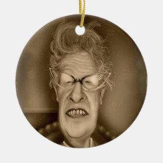 Old Lady OAP Vintage Caricature Retro Christmas Tree Ornament