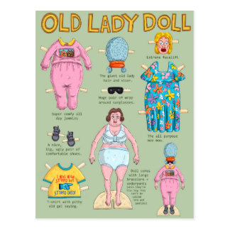 Old Lady Paper Doll. Postcard