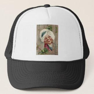 Old Lady Smile Shamrock Fence Bonnet Trucker Hat