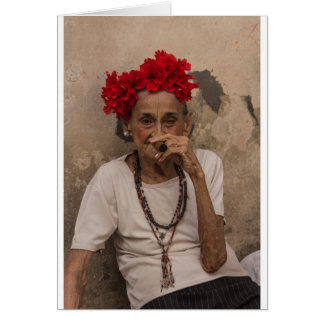 Old lady smoking cuban cigar in Havana Card