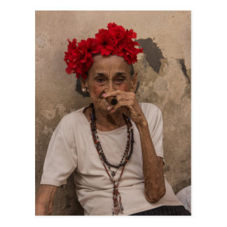 Old lady smoking cuban cigar in Havana Postcard