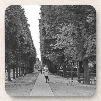 Old lady walking at park in Paris in summer Drink Coaster