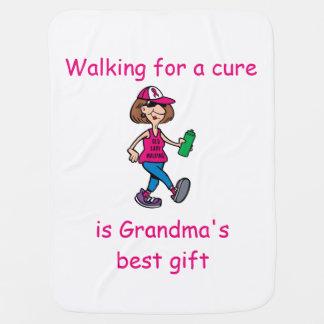 Old Lady Walking-Pink Ribbon-Baby Blanket