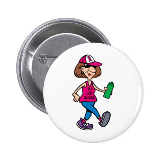 Old Lady Walking-Pink Ribbon Button Pin