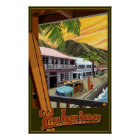 Old Lahaina, Hawaii Surf Travel Poster