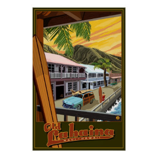 Old Lahaina Hawaii Surf Travel Poster
