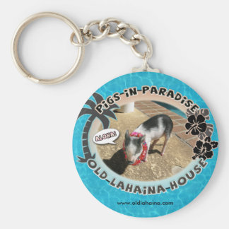 Old Lahaina House Basic Round Button Keychain