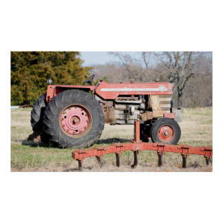 Old Large Tractor Sitting Idle In A Winter Pasture Poster