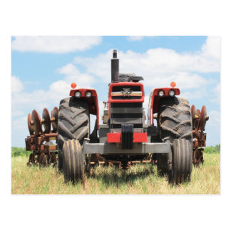 Old Large Tractor Sitting Idle On A Nice Day Postcard