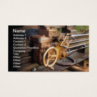 Old lathe machine business card