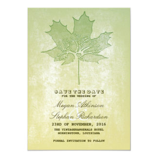 Old leaf tree vintage save the date card