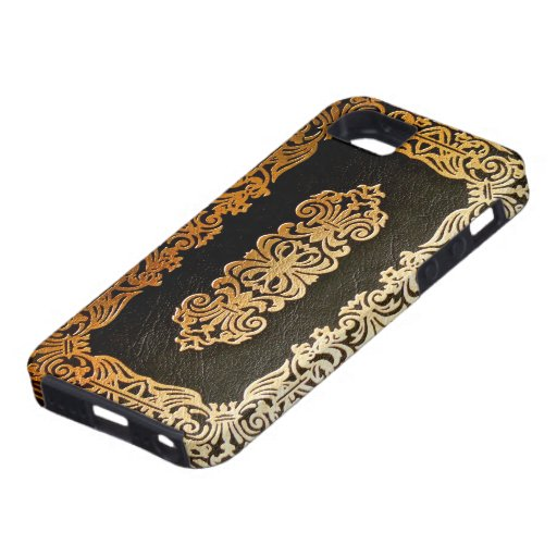 Black And Gold Book Cover : Old leather black gold book cover zazzle