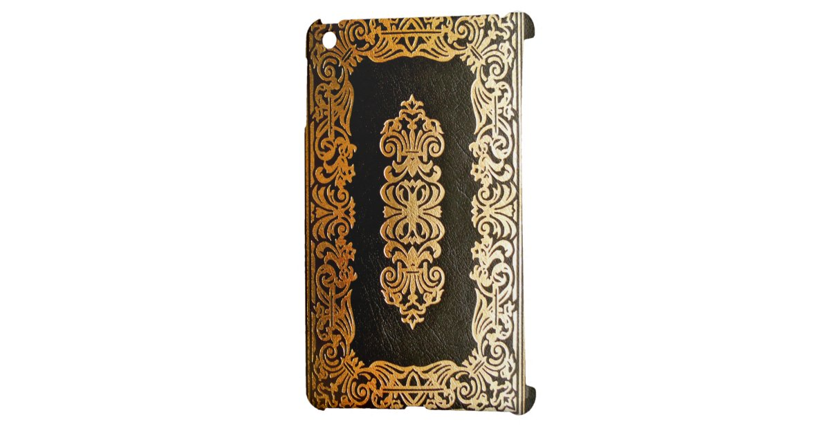 Black And Gold Book Cover : Old leather black gold book cover case for the ipad mini