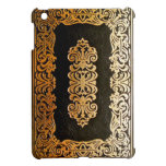 Old Leather Black & Gold Book Cover Case For The iPad Mini