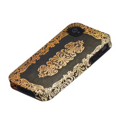 Book Cover Black And Gold ~ Old leather black gold book cover iphone cases zazzle