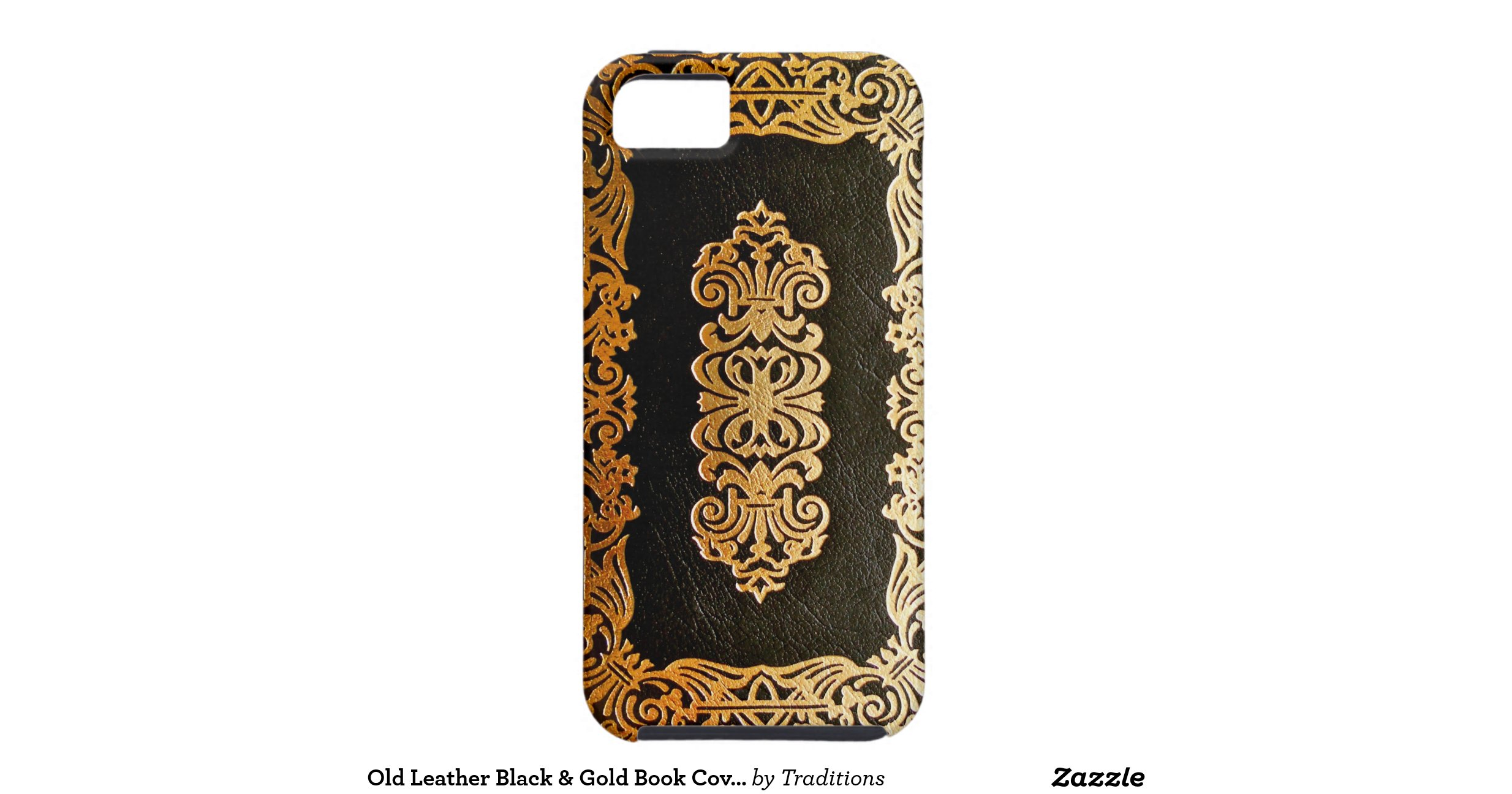 Book Cover Black And Gold ~ Old leather black gold book cover iphone case