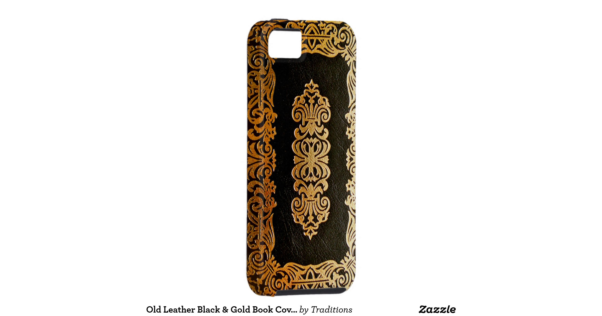 Book Cover Black And Gold : Old leather black gold book cover iphone case
