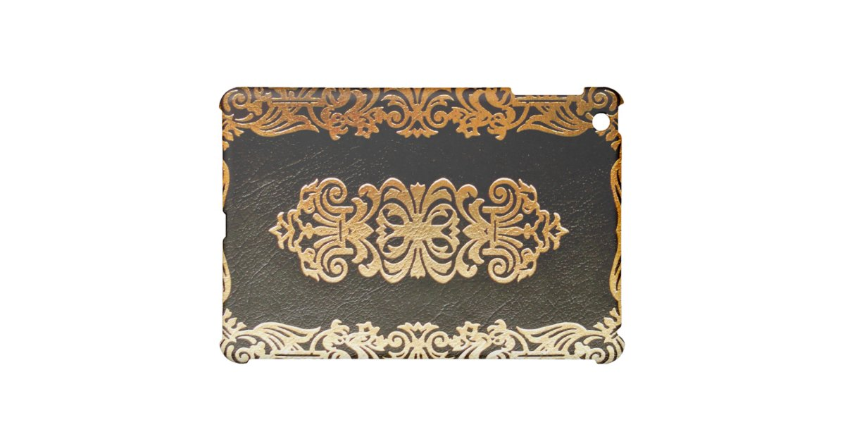 Book Cover Black And Gold : Old leather book cover black and gold ipad mini covers