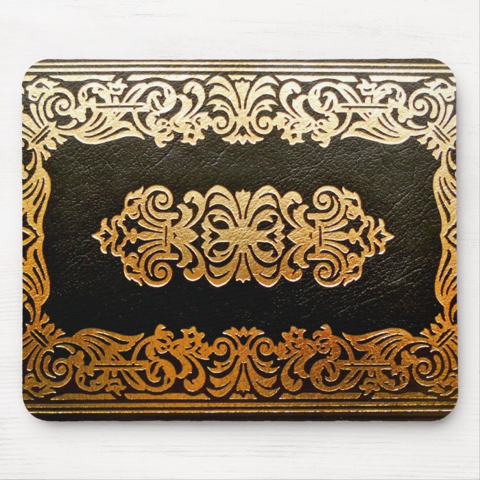 Book Cover Black And Gold ~ Old leather book cover black and gold mouse pad zazzle