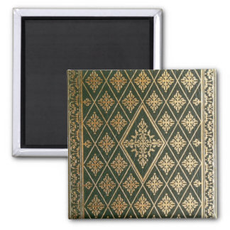 Old Leather Book Cover Green and Gold 2 Inch Square Magnet