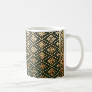 Old Leather Book Cover Green and Gold Classic White Coffee Mug
