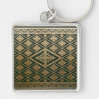 Old Leather Book Cover Green and Gold Keychain