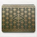 Old Leather Book Cover Green and Gold Mouse Pad