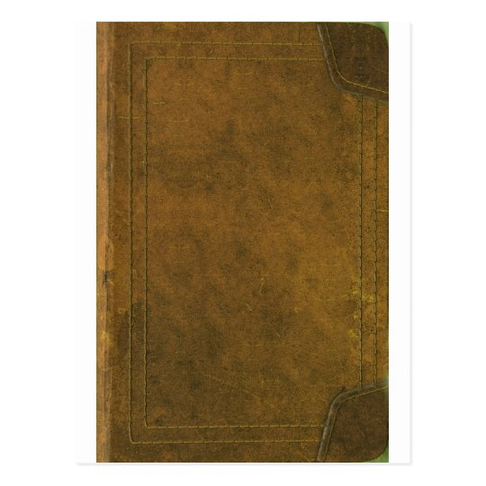 Vintage Book Cover Postcards : Old leather book cover postcard zazzle