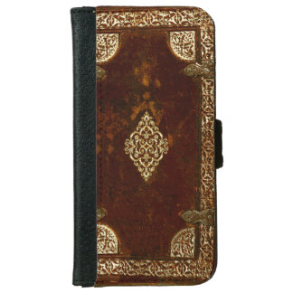Old Leather Brass And Gilded Book Cover iPhone 6 Wallet Case