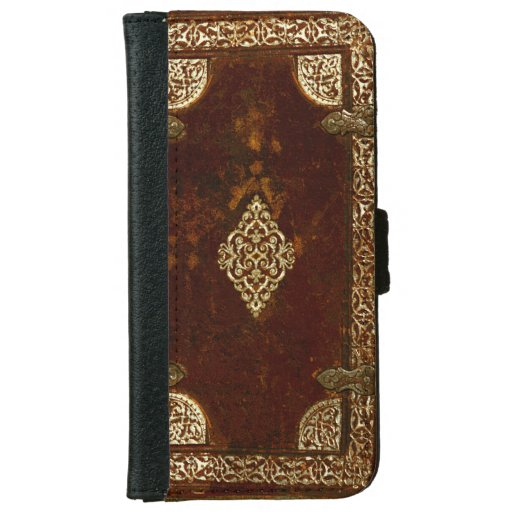Old Leather Book Iphone Cover : Old leather brass and gilded book cover iphone wallet case