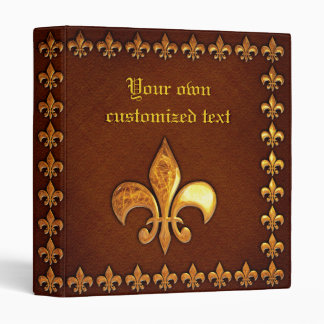 Old Leather Cover with golden Fleur-de-Lys - Binder