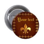 Old Leather Cover with golden Fleur-de-Lys - Button