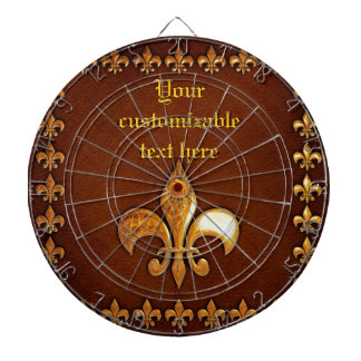 Old Leather Cover with golden Fleur-de-Lys - Dart Boards