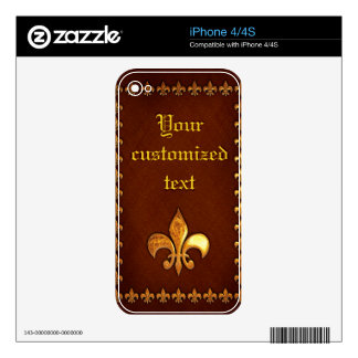 Old Leather Cover with golden Fleur-de-Lys - Decals For iPhone 4S