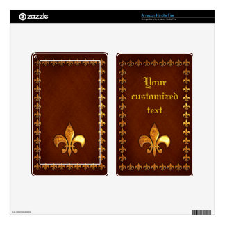Old Leather Cover with golden Fleur-de-Lys - Decals For Kindle Fire